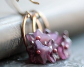 Flower Earrings with Purple Czech Glass Beads and Small Hoops- Cherry Blossoms Garden Floral Botanical