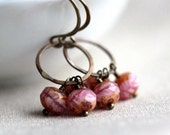 Pink Beaded Earrings with Fuschia Pink Czech Glass Beads and Small Hoops - Strawberry Swirl