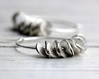 Small Hoop Earrings Silver Hoop Earrings Ruffled Handmade Earrings Fashion Jewelry Modern Boho Free Shipping Gift For Her