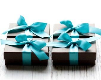 Bridesmaid Gift Set of Four Handmade Small Sterling Silver Hoop Petals Earrings Modern Bride Winter Weddings