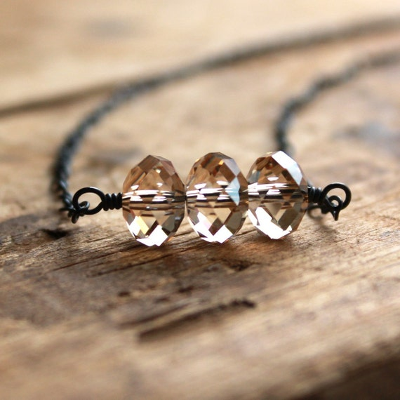 Necklace with Golden Swarovski Crystal and Sterling Silver - Daybreak