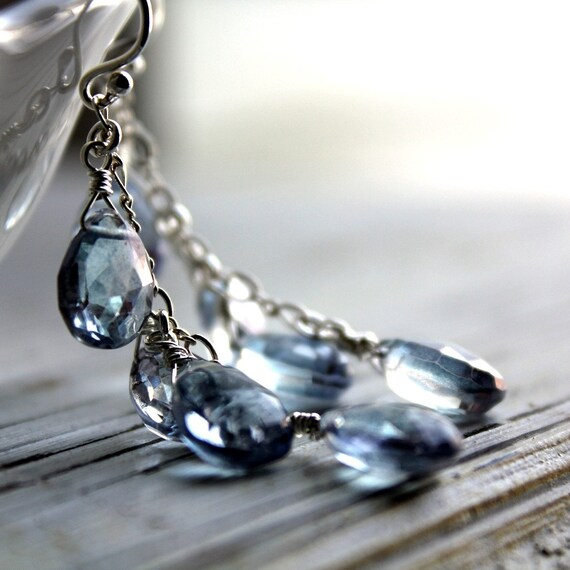 Gemstone Dangle Earrings with AAA Mystic Blue Quartz Briolettes and Sterling Silver - Rain