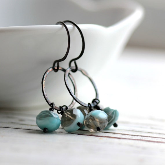 Beaded Earrings with Turquoise Blue and Gray Czech Glass and Small Hoops - April Showers