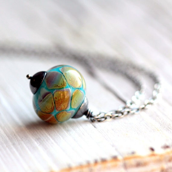 Large Aqua Blue Glass Pendant on Sterling Silver Necklace - Lampwork Glass Bead - Morocco