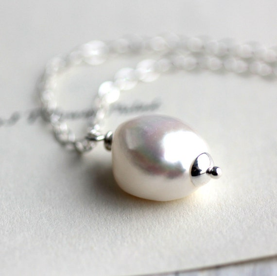 Large Pearl Necklace on Sterling Silver Chain, Freshwater Pearl Pendant Bride Winter Wedding June Birthstone