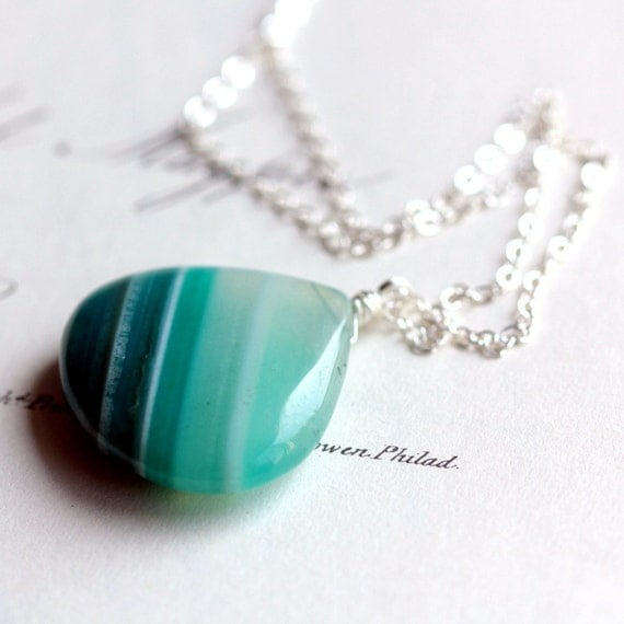 Summer Stripe Pendant Necklace Striped Blue Agate on Sterling Silver Chain - Summer Fashion Teal Aqua Blue