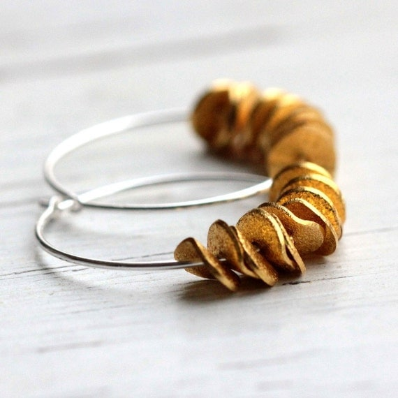 Small Silver Hoop Earrings Sterling Silver Earrings Gold Ruffle Modern Hoop Earrings Boho Jewelry