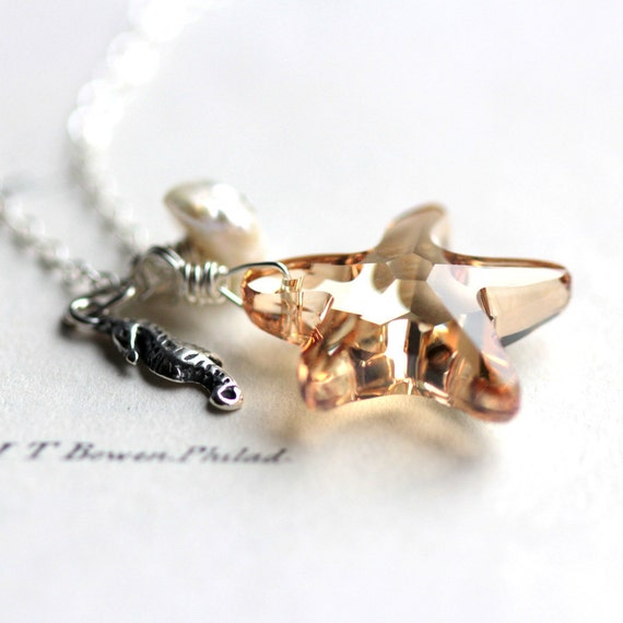 Starfish Necklace - Golden Swarovski Crystal Starfish, Pearl and Sterling Silver Seahorse Charm Necklace - Ocean Beach Summer Fashion
