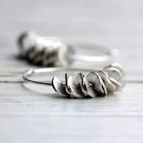Small Hoop Earrings Silver Hoop Earrings Ruffled Handmade Earrings Fashion Jewelry Modern Boho Free Shipping Gift For Her