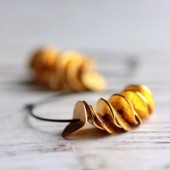 Large Hoop Ruffle Earrings in Oxidized Sterling Silver and Gold Ruffles - Gilded - Minimalist Modern Under 30 Fall Fashion