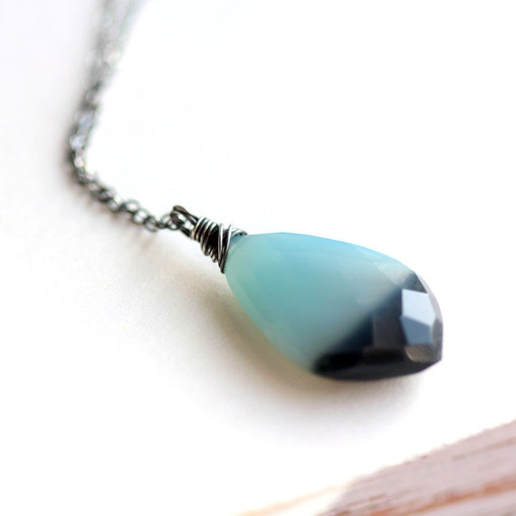 Ombre Necklace - Blue and Black Chalcedony Pendant on Sterling Silver Chain Modern Fashion