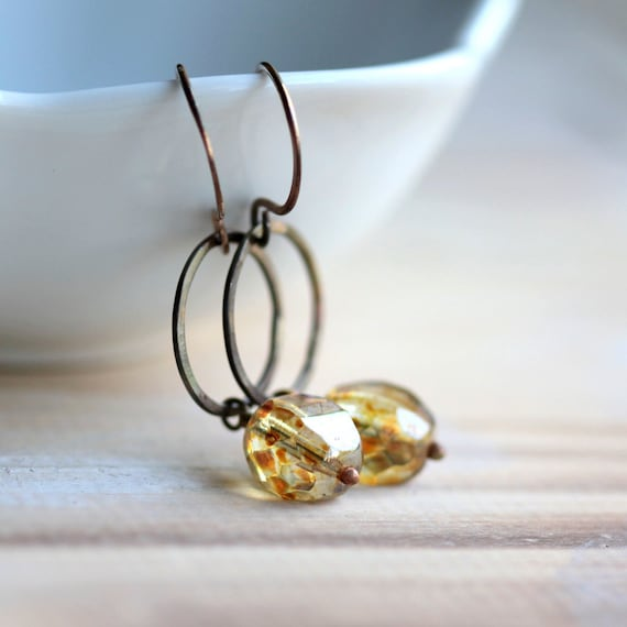 Small Hoop Earrings with Amber Czech Glass and Oxidized Brass