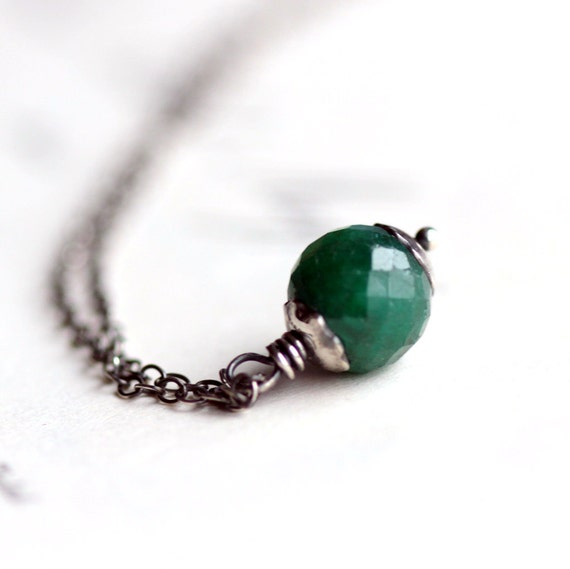 Emerald Necklace with Sterling Silver Chain Precious Stone Pendant May Birthstone