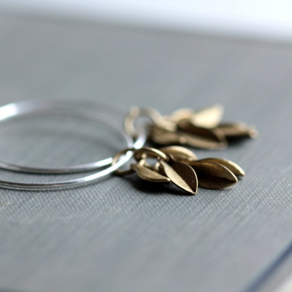 Small Hoop Earrings with Sterling Silver and Brass Leaf Charms - Falling Leaves - Autumn Fashion Modern Under 25 Gift