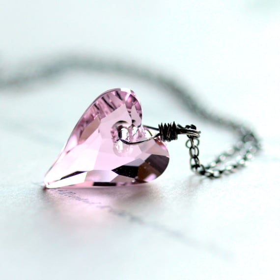 Pink Heart Necklace - Large Pink Swarovski Crystal Heart on Sterling Silver Chain Pastel Pink Valentine's Day Gift