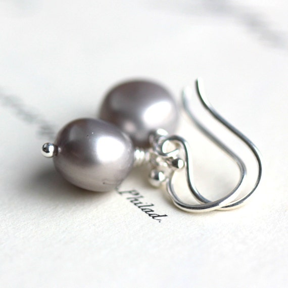 Frost - Pearl Earrings, Pewter Gray Potato Pearls and Sterling Silver - Winter Bride Wedding Fashion - June Birthstone