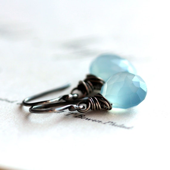 Blue Gemstone Earrings, Wire Wrapped Blue Chalcedony Briolette Earrings on Sterling Silver Ear Wires - Isle of Capri