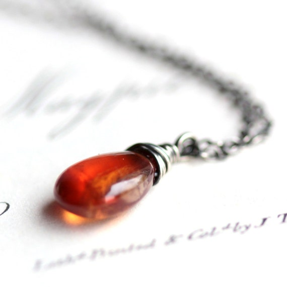 Orange Gemstone Necklace Tundra Sapphire Wire Wrapped in Oxidized Sterling Silver on Sterling Silver Chain - Cognac