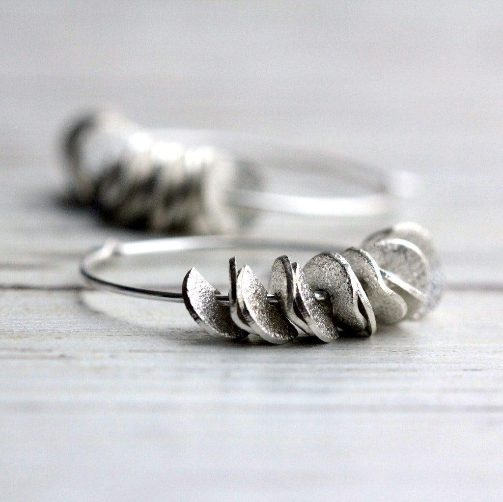 small hoop earrings silver hoop earrings ruffled handmade. Black Bedroom Furniture Sets. Home Design Ideas
