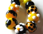 Bumble Bee Lampwork Beads-Set 3-Yellow, Black And White