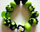 Green Lampwork Beads-Wickedly Green  and Black Lampwork Beads