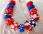 Handmade Lampwork Beads-Red, White and Blue Patriotic Colors- Fourth of July-Memorial Day-School Colors-New England Patriots-Set2.