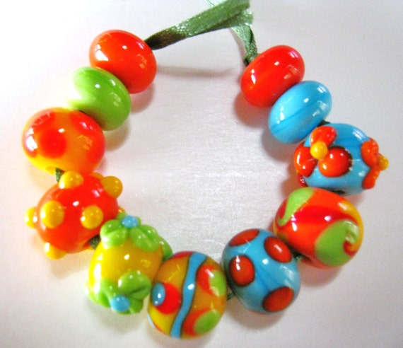 Bracelet Beads:Lampwork Handmade Tropical Colored Beads-Mango Delights-Set 2-Mexican Fiesta Beads