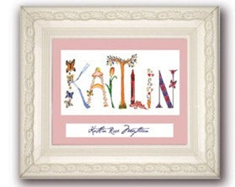 8x10 Personalized Name Art - Matted (not framed)