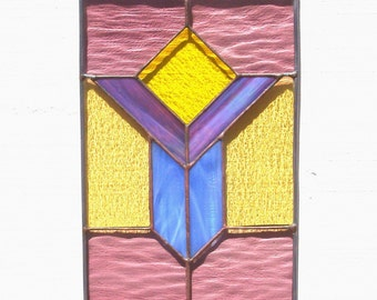 Stained Glass Window, Stained Glass Suncatcher, Stained Glass Window Panel, Prairie Style, Purple Glass, Yellow Glass, Architectural Glass
