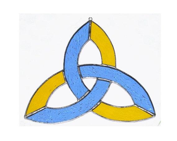 Celtic Knot, Stained Glass Suncatcher, Trinity Knot, Sacred Geometry, Blue Glass, Yellow Glass, Sun Catcher, Celtic Art, Irish, Triquerta
