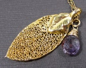 Dancing in the Air - 22k Gold Plated Leaf with Lovely Purple Moss Amethyst