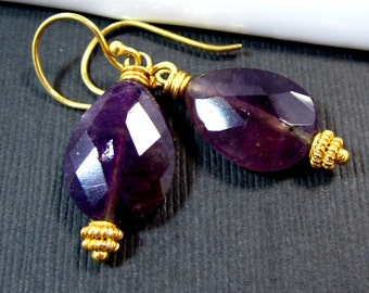 Royal // Rich Purple Amethyst faceted flat pears on 24k Vermeil