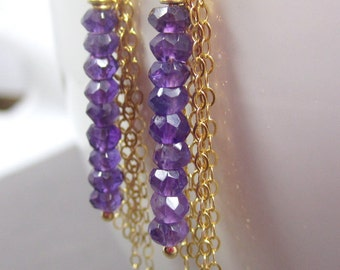Mist Earrings // Linear Drop Amethysts with Cascading Chain on Gold