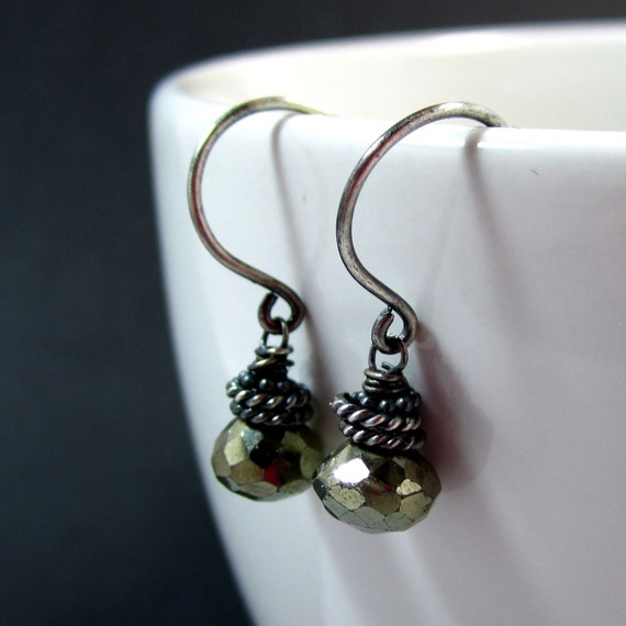 SALE 30%// Golden Glow // Pyrite faceted onions with Oxidized Sterling Silver