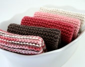 """100% Cotton WashCloths - Brown, Dark Rose Pink, Light Pink, Cream -  Small 7 5/8"""" - Hand Knit - Ready To Ship"""