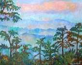 "Blue Ridge Mist Art 12""x16"" Impressionist Mountain Ptg.by Award Winning Artist Kendall Kessler"