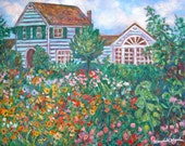 Yard Flowers Art 14x18 Impressionist Original Oil garden by Award Winning Artist Kendall Kessler