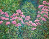 Rhododendron at Black Rock Hill Art 30x40 Impressionist Landscape Painting by Kendall Kessler