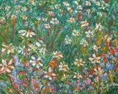 Jumbled Up Wildflowers Art 9x12 Impressionist Landscape Ptg. by Award Winner Kendall Kessler