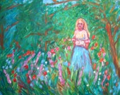 Contemplation 16x20 ORIGINAL OIL PAINTING girl in field Impressionist Kendall Kessler
