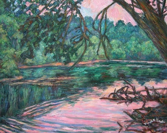 Riverview at Dusk Art 20x16 Impressionist Landscape Oil Painting by Award Winning Artist Kendall Kessler
