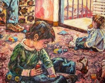 A Birthday Party Art 40x25 Original Oil Children Painting by Award Winning Artist Kendall Kessler