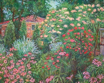 North Albemarle, McLean Art 40x30 Impressionist Landscape Garden Painting By Kendall Kessler