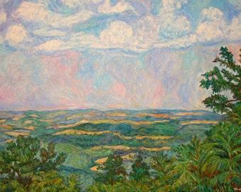 Overlook Near Peaks of Otter Art 40x30 Impressionist Landscape   Award Winner Kendall  Kessler