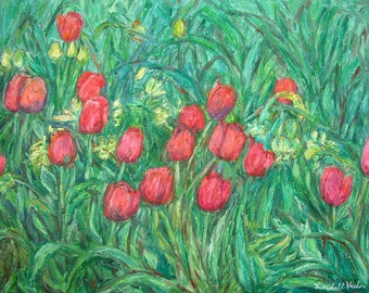 Mostly Tulips Art 16x20 Impressionist Flower Oil Painting by Award Winning Artist Kendall Kessler