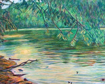 Mid Spring on the New River Art 34 x 23 Impressionist Painting by Award Winner  Kendall F. Kessler