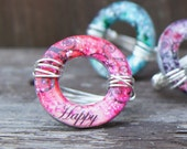 Womens Ring 'Happy' Size 7 to 8 Bold Statement Ring Fun Hip Trendy Teen Tween Ring 'Circles of Inspiration' Charm