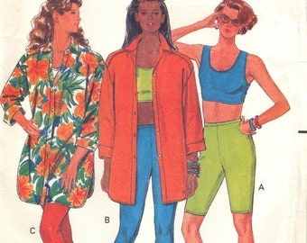 Butterick 4933 Sewing Pattern Shirt Top Shorts Leggings Misses Size 6 8 10 12