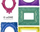 PNG File - Frames - Large Colored Victorian style - Set2 - A4 Digital Collage Sheet - For unlimited prints