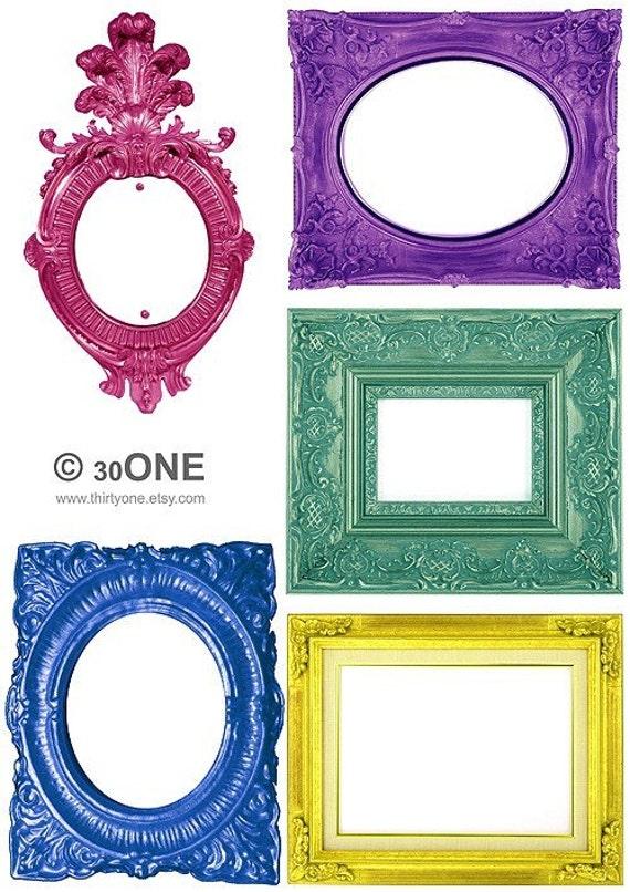 Large Colored Victorian Frames - A4 Digital Collage Sheet - For unlimited number of prints - Set2